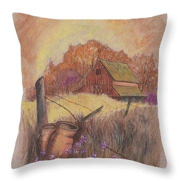 Throw Pillow featuring the drawing Macgregors Barn Pstl by Carol Wisniewski