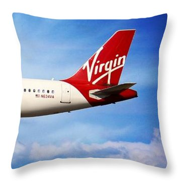 Airplanes Throw Pillow featuring the photograph Virgin America Mach Daddy - Rare by Aaron Berg