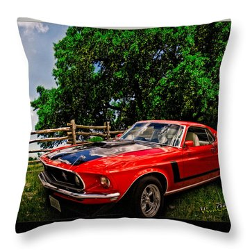 1969 Ford Mach 1 Mustang Throw Pillow