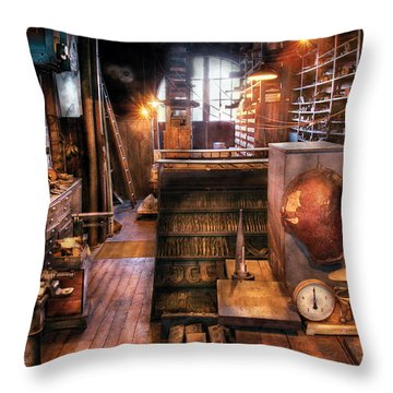 Machinist - Ed's Stock Room Throw Pillow by Mike Savad