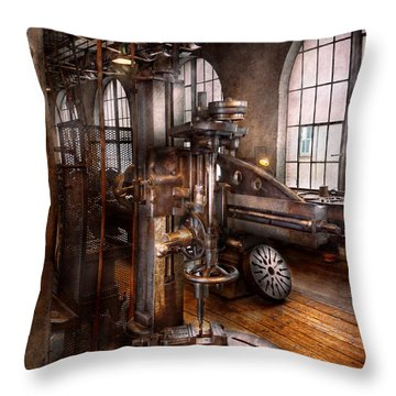 Machinist - Industrial Drill Press  Throw Pillow by Mike Savad