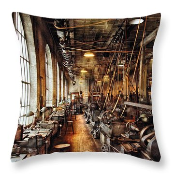 Machinist - Machine Shop Circa 1900's Throw Pillow by Mike Savad