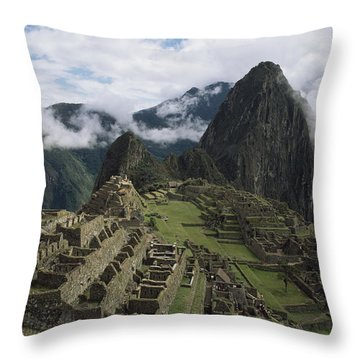 Machu Picchu Throw Pillow by Chris Caldicott