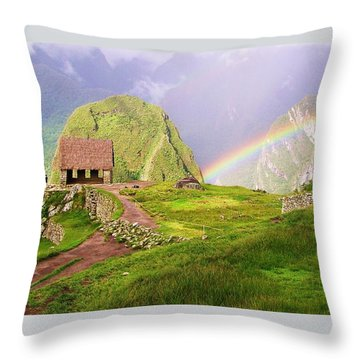 Machu Picchu Rainbow Throw Pillow by Michele Penner