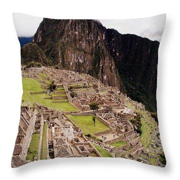 Machu Picchu Throw Pillow by Ramona Johnston