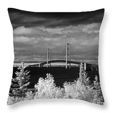 Macinac Bridge - Infrared Throw Pillow