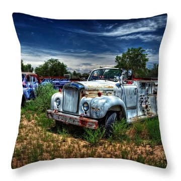 Throw Pillow featuring the photograph Mack Fire Truck And Graffiti Fire Truck by Ken Smith