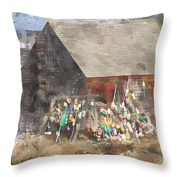 Mackerel Cove Maine Painterly Effect Throw Pillow