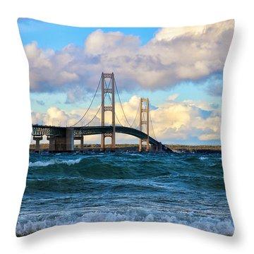 Mackinac Among The Waves Throw Pillow