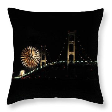 Mackinac Bridge 50th Anniversary Fireworks Throw Pillow