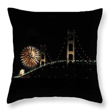 Mackinac Bridge 50th Anniversary Fireworks Throw Pillow