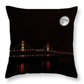 Throw Pillow featuring the photograph Mackinac Bridge And Moon by Randy Pollard