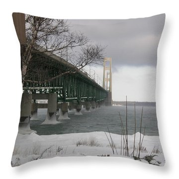 Mackinac Bridge At Christmas Throw Pillow