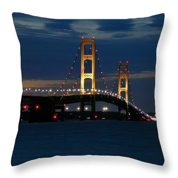 Mackinac Bridge At Dusk Throw Pillow