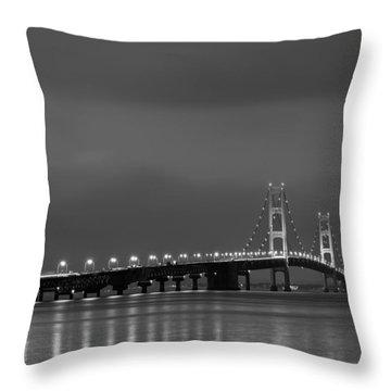 Mackinac Bridge Black And White Throw Pillow by Sebastian Musial