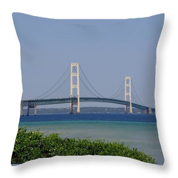 Mackinac Bridge Blue Throw Pillow