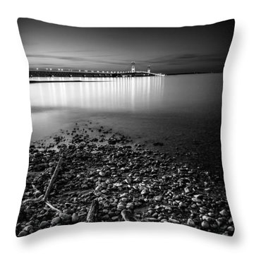 Throw Pillow featuring the photograph Mackinac Bridge Bw by Larry Carr