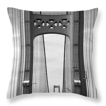 Mackinac Bridge Detail 2 Bw Throw Pillow by Mary Bedy