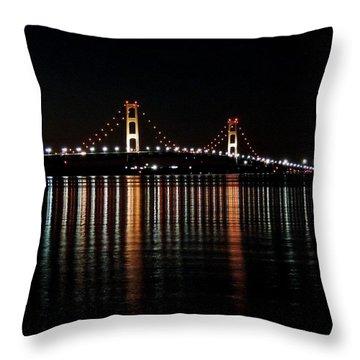 Mackinac Bridge Lights Throw Pillow