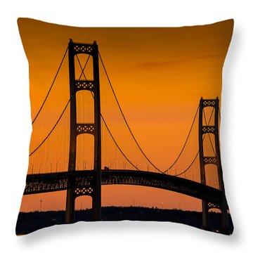 Mackinac Bridge Sunset Throw Pillow