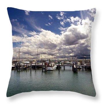 Mackinaw City Marina Throw Pillow