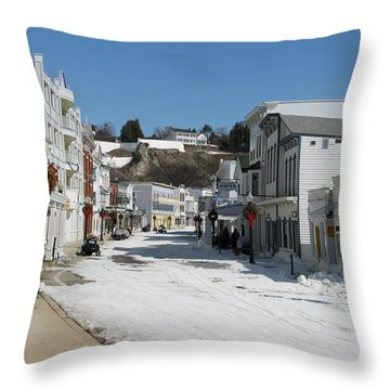 Mackinac Island In Winter Throw Pillow