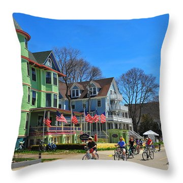 Mackinac Island Waterfront Street Throw Pillow by Terri Gostola