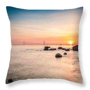 Mackinac Sunrise Throw Pillow by Larry Carr