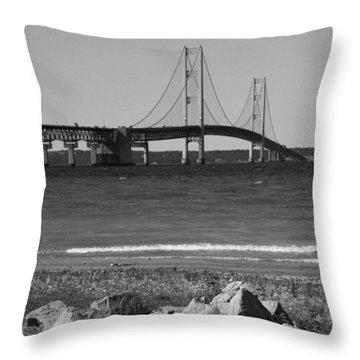 Mackinaw Bridge Black And White Throw Pillow by Bill Woodstock