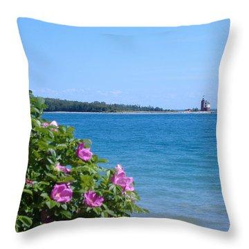 Mackinaw Island Lighthouse Throw Pillow by Bill Woodstock