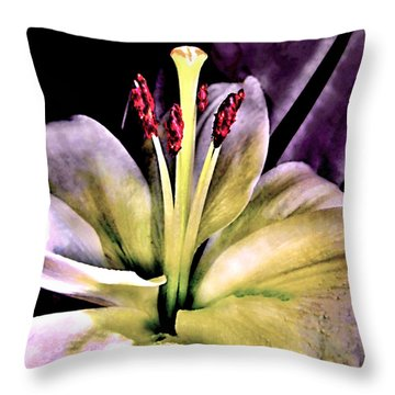 Macro Luminous Lily  Throw Pillow by Danielle  Parent