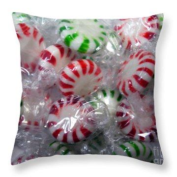Macro Mints Throw Pillow