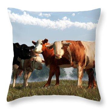Mad Cows Throw Pillow by Daniel Eskridge