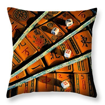 Mad For Mahjong Throw Pillow by Lois Bryan
