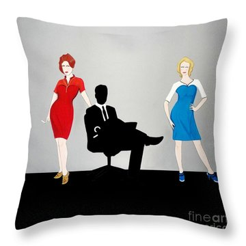 Mad Men In Technicolor Throw Pillow by John Lyes