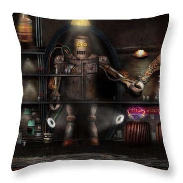 Mad Scientist - The Enforcer Throw Pillow by Mike Savad