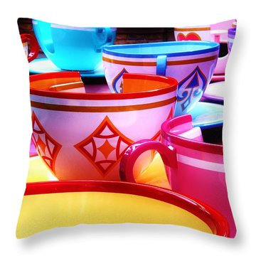 Throw Pillow featuring the photograph Mad Tea Party by Benjamin Yeager
