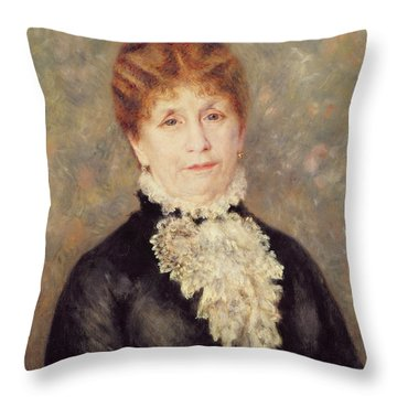 Madame Eugene Fould Throw Pillow by Pierre Auguste Renoir