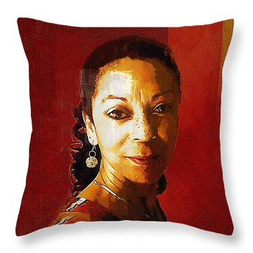 Madame Exotic Throw Pillow