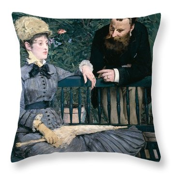 Madame Manet In Greenhouse Throw Pillow by Edouard Manet