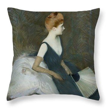 Madame Marthe Letellier Sitting On A Sofa Throw Pillow by Paul Cesar Helleu