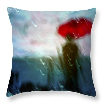 Madame With Umbrella Throw Pillow