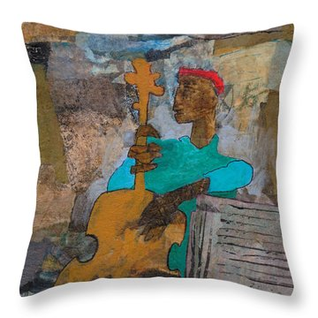 Throw Pillow featuring the mixed media Madcap Bass by Catherine Redmayne