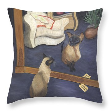 Throw Pillow featuring the painting Made In China by Karen Zuk Rosenblatt