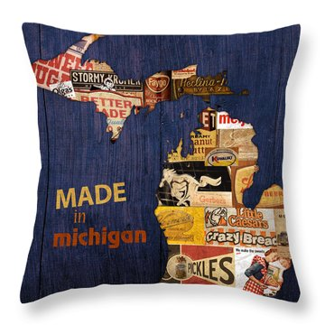 Made In Michigan Products Vintage Map On Wood Throw Pillow by Design Turnpike