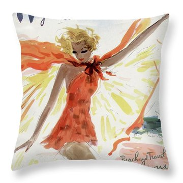 Mademoiselle Cover Featuring A Model At The Beach Throw Pillow