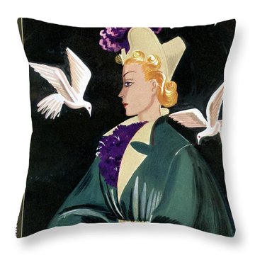 Mademoiselle Cover Featuring A Model In A Green Throw Pillow