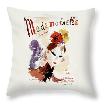 Mademoiselle Cover Featuring A Woman Throw Pillow