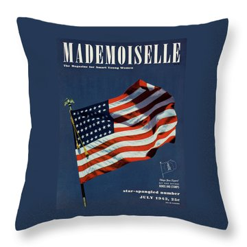 Mademoiselle Cover Featuring The U.s. Flag Throw Pillow