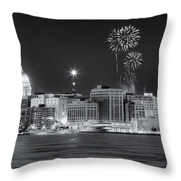 Madison - Wisconsin -  New Years Eve Panorama Black And White Throw Pillow